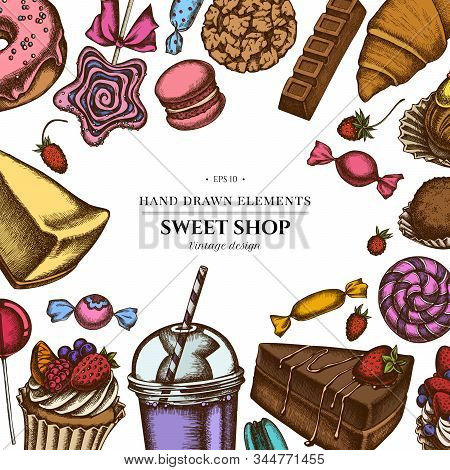 Colored Elements Design With Cinnamon, Macaron, Lollipop, Bar, Candies, Oranges, Buns And Bread, Cro