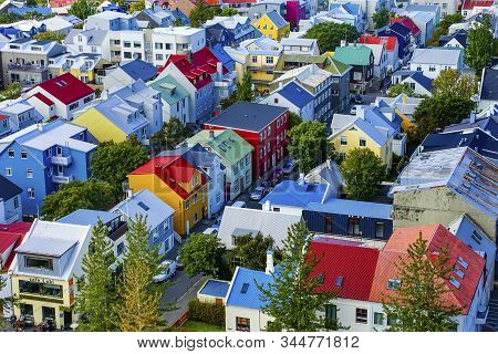 Reykjavik, Iceland - August 26, 2019 Colorful Red Green Blue Yellow Houses Cars Streets Reykjavik Ic