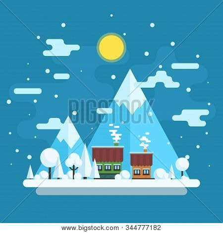 Winter Daytime Landscape. Houses On A Background Of Mountains. Vector Flat Illustration