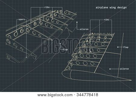 Vector Illustration Of Drawings Of The Wings Of An Airplane And Its Internal Structure