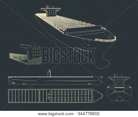 Vector Illustration Of Drawings Of A Large Container Ship