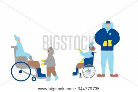 Family Winter Walking. Young Mother In Wheelchair, Father, Son And Pretty Daughter In Wheel Shair Sp