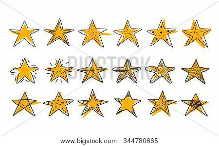 Stars Set In Doodle Style. Hand Drawn Symbols In Various Shapes Designs Isolated On White Background