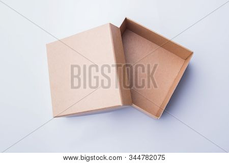 Uncovered Empty Two-piece Cardboard Box. Top View, Isolated.