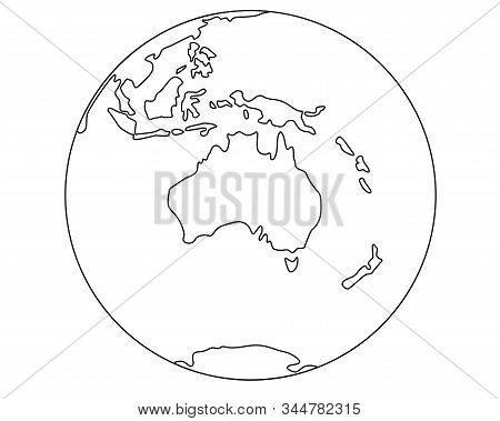Globe With Australia And Oceania. Planet Earth - Oceans And Continents - Linear Vector Map Illustrat