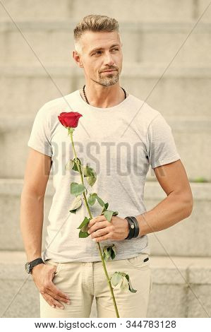 Romantic Gentleman. Man Mature Macho With Romantic Gift. Little Romance Can Enhance Your Love Life.