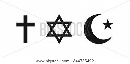 Three Religions Vector Icon Isolated On White Background. Christianity, Judaism And Islam. Worship C