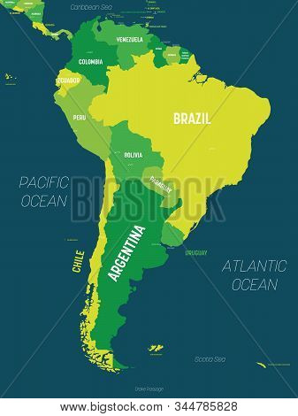 South America Map - Green Hue Colored On Dark Background. High Detailed Political Map South American