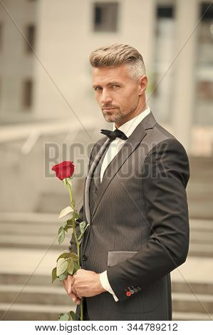 Make Good First Impression. Valentines Day And Anniversary. Handsome Guy Rose Flower Romantic Date.