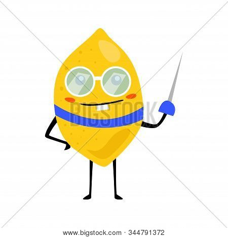Sport Lemon Fencing Character With Glass. Funny Fruit Food On Sport Exercises, Fitness Vitaminic Hum