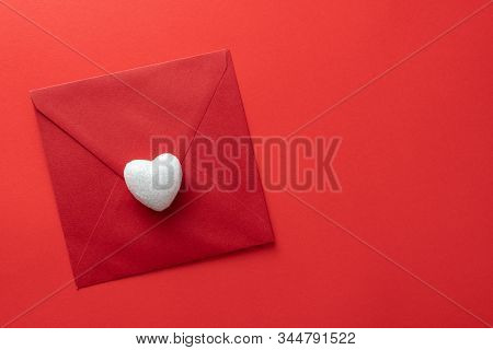 Love Letter Icon On Red Background. Valentines Day Background. Love Hearts, Candys, Flat Lay, Top Vi