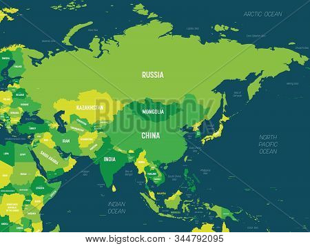 Asia - Green Hue Colored On Dark Background. High Detailed Political Map Of Asian Continent With Cou