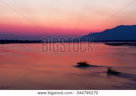 Landscape Of The National Park Mana Pools On The Riverside Of The Zambezi River In Zimbabwe, Beautif