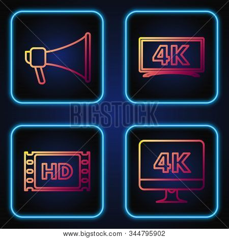 Set Line Computer Pc Monitor With 4k Video Technology , 4k Movie, Tape, Frame , Megaphone And Screen