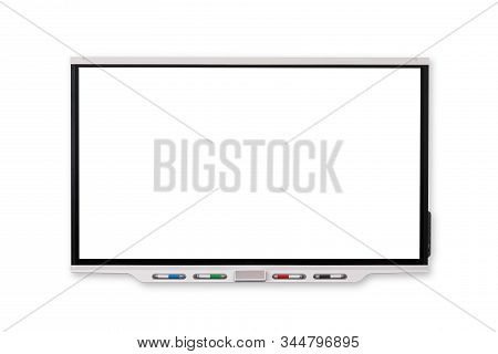Interactive Whiteboard‎ With Black Screen Isolated And White Background