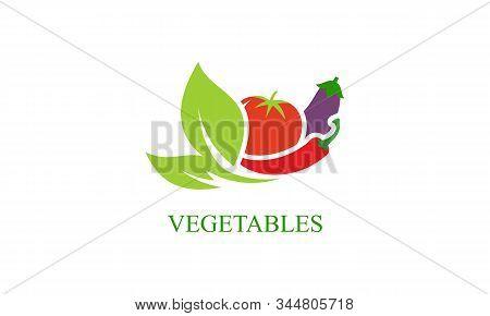 Fresh Vegetables Logo Healthy Food Shop Illustration
