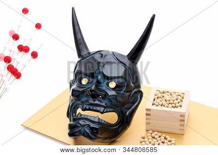 Japanese Traditional Setsubun Event, Soybeans And Masks Of Oni Demon