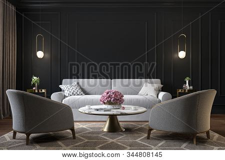 Classic Black Interior With Armchairs, Sofa, Coffee Table, Lamps, Flowers And Wall Moldings. 3d Rend
