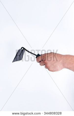 Handed Field And Garden Hoe. White Isolated Background.