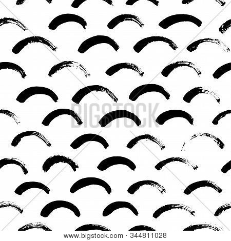 Monochrome Minimalistic Tribal Seamless Pattern With Semicircles. Inspired By Signs Of Primitive Abo