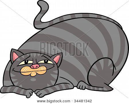 poster of cartoon illustration of cute gray fat tabby cat