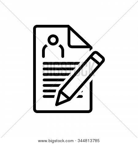 Black Line Icon For Enrollment Nomination Recruitment Registration Agreement