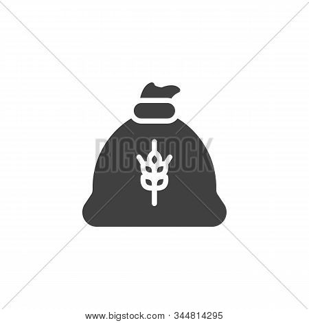 Wheat Flour Bag Vector Icon. Filled Flat Sign For Mobile Concept And Web Design. Flour Sack Glyph Ic