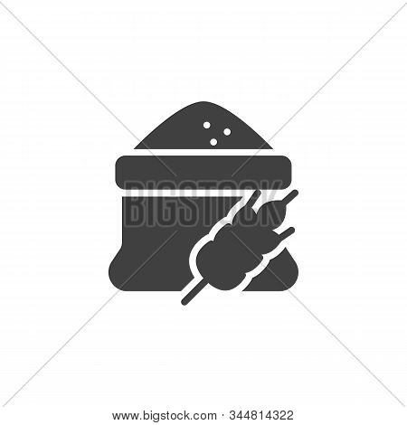 Flour Bag And Spike Of Wheat Vector Icon. Filled Flat Sign For Mobile Concept And Web Design. Open F