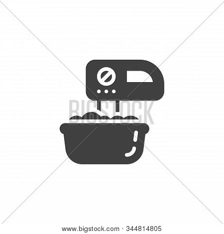 Mixing Dough Vector Icon. Filled Flat Sign For Mobile Concept And Web Design. Mixer And Dough Bowl G