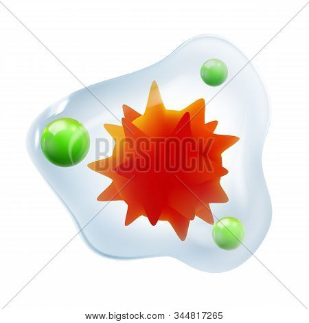 Infection Microscopic Red Core Bacteria Vector. Microbiological Unhealthy Virus Bacteria With Rounde