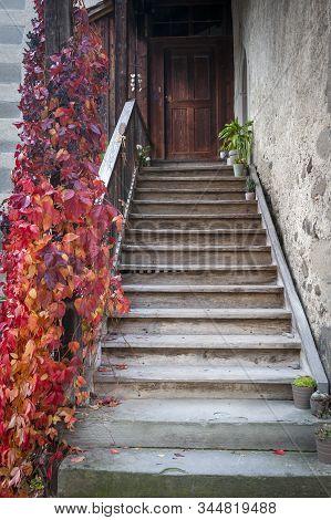 Stein Am Rhein, Switzerland - October 2019: A Stairways Led To To An Old Building Inside St. George'