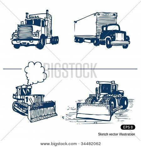 Trucks and bulldozers