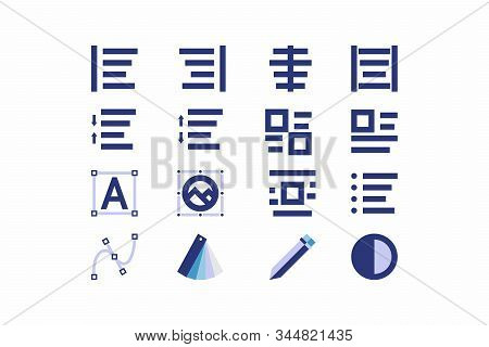 A Set Of Simple Linear Icons For The Content Editor. Modern Simple Symbols