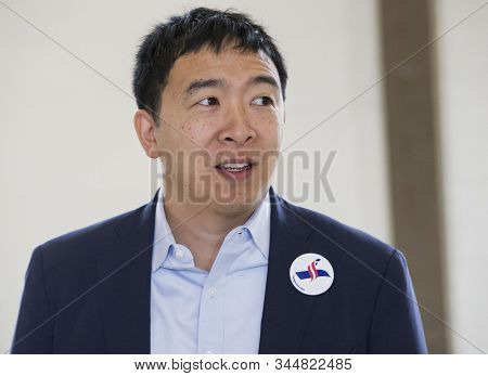New York,united States,june 2019,american 2020 Presidential Candidate Andrew Yang In Press Conferenc