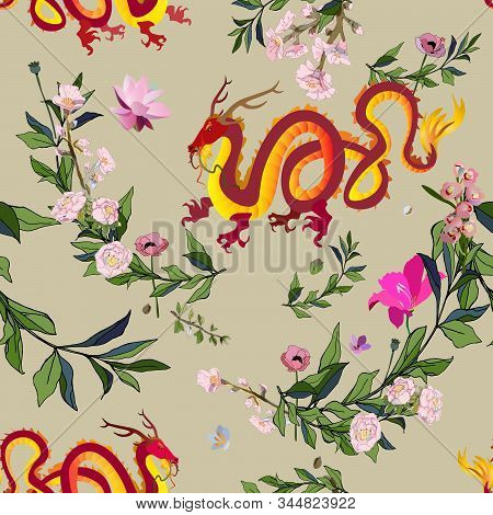 Golden Chinese Dragon Surrounded By Tropical Flowers Seamless Vector Pattern. Picture With A Mythica