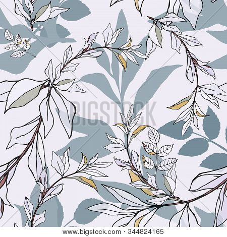 Seamless Pattern With White And Blue Leaves On Light Background. Vector Illustration With Plants. Ge