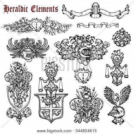 Design Set With Heraldic Elements Isolated On White. Hand Drawn Engraved Illustration With Mythology