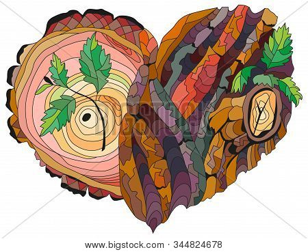 Sketchy Doodle Heart With Tree Bark Texture And Young Shoots