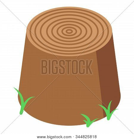 Grass Near Stump Icon. Isometric Of Grass Near Stump Vector Icon For Web Design Isolated On White Ba