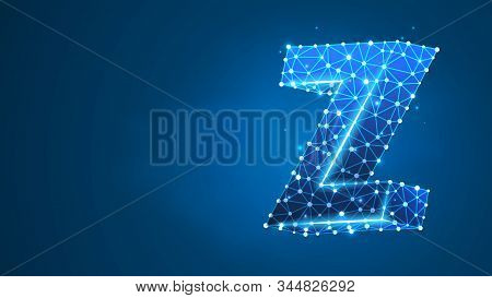 Alphabet Letter Z. Design Of An Uppercase English Letter. Banner, Template Or A Pattern. Abstract Di