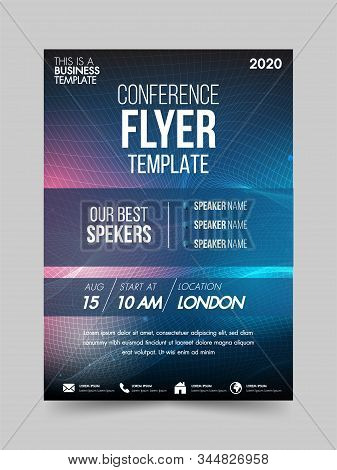 Brochure Design Flyer Template Technology Conference Geometric Shapes Design Layout, Annual Report,