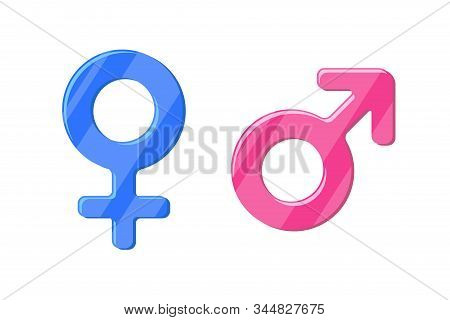 Heterosexual Gender Symbol Mars And Venus Icon Set. Male And Female Vector Sign. Isolated Sex Pictog