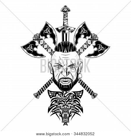 Vector Image Of A Viking Head, Two Battle Axes And A Sword. Wolf - Celtic Totem Warrior.  Illustrati