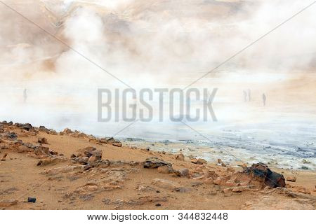 Geothermal region of Hverir in Iceland near Myvatn Lake, Iceland, Europe
