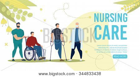 Nursing Care Service For Disabled People Trendy Flat Vector Web Banner, Landing Page Template. Nurse