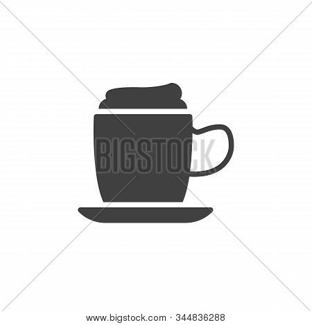 Coffee Mug With Foam Vector Icon. Filled Flat Sign For Mobile Concept And Web Design. Frappe Drink C