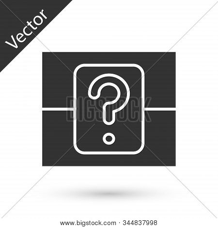Grey Mystery Box Or Random Loot Box For Games Icon Isolated On White Background. Question Box. Vecto