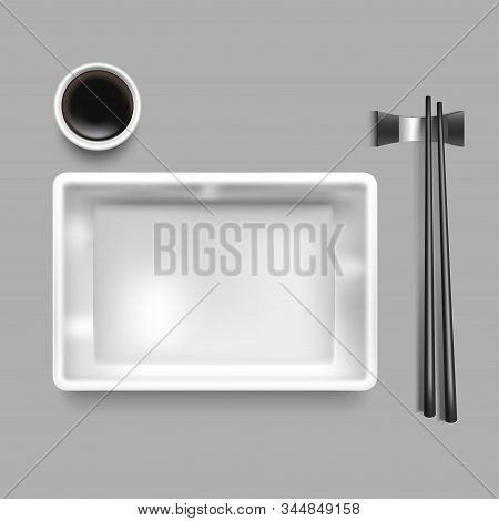Realistic Detailed 3d Empty Template Mockup Sushi Plating Set Include Of Chopstick, Soy Sauce And Di
