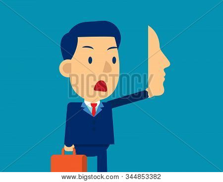 Businessman Holding Mask In Front, Concept Business Social Vector Illustration, Disguise, Hide.