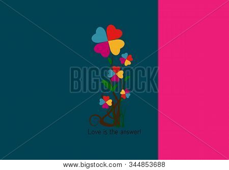 Love, Valentine Day And Heart Design. Illustration, Flowers Of Colored Hearts With Poem - Love Is Th